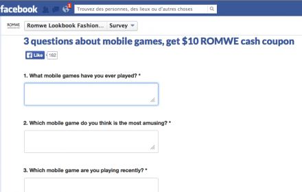 Romwe mobile game survey
