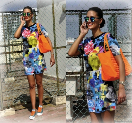 08072014 – Colorblock dress & sneakers