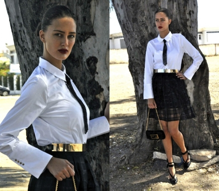 10072014 – Chic in white shirt & black skirt