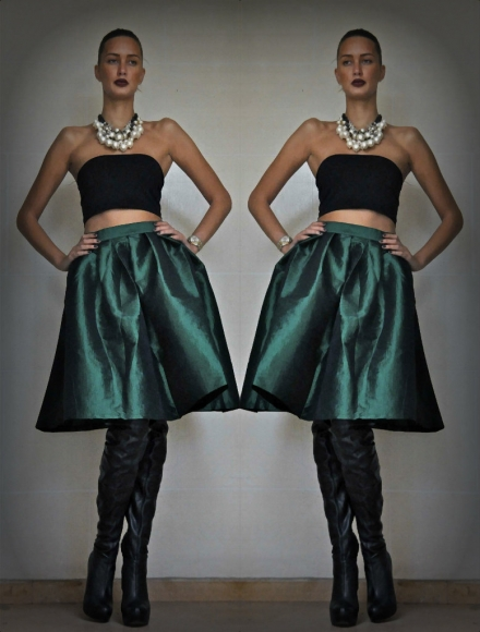 18112013 – The green Choies midi skirt