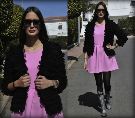 20022014 – Pink bubble gum dress & shaggy black cardigan
