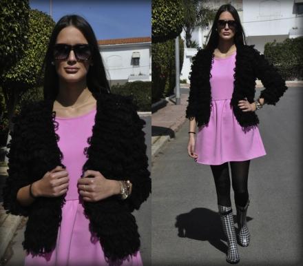 20022014 – Pink bubble gum dress & shaggy black cardigan