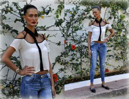 20052014 – Cut-out crop top & destroy jeans