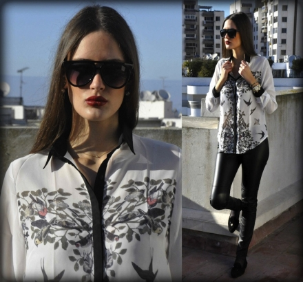 22022014 – Bird print shirt & leather pants
