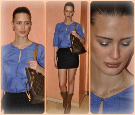 23052013 – Blue top & peplum skirt