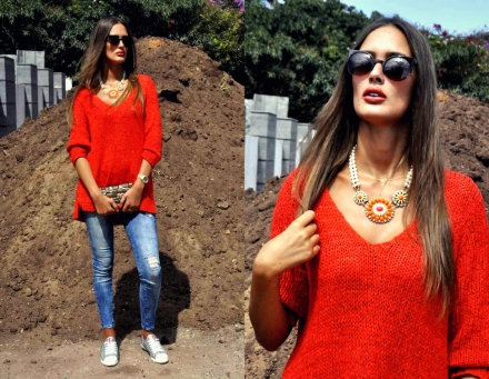 23082014 – Bright coral jumper
