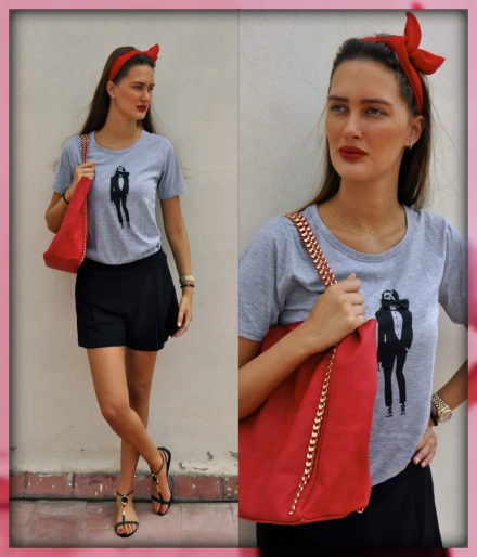 07082013 – grey Choies t-shirt with red accessories