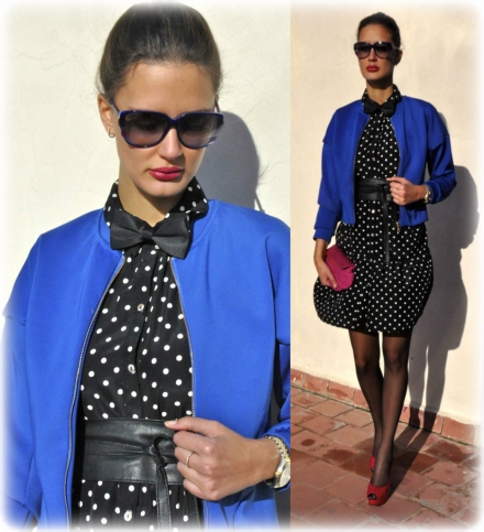 23012014 – Polka dot dress with a royal blue bomber jacket