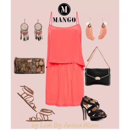 La robe corail de Mango