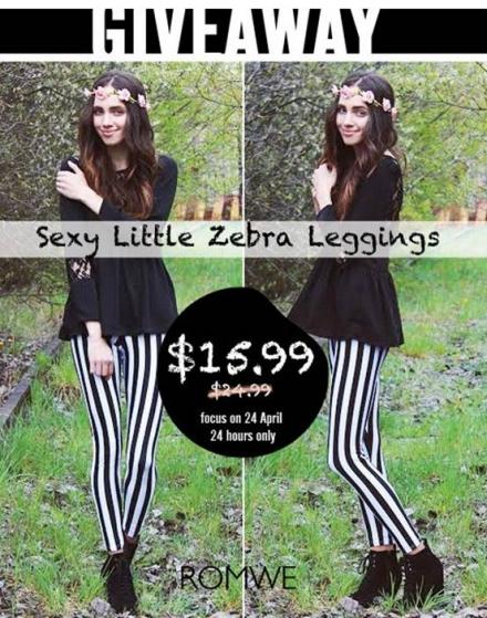 Romwe giveaway – zebra leggings