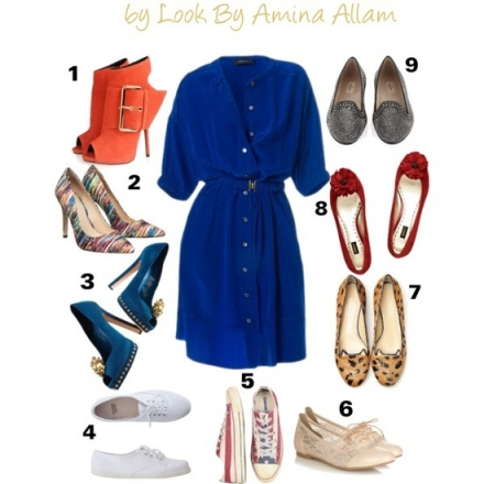 Quelles chaussures pour la robe bleue?