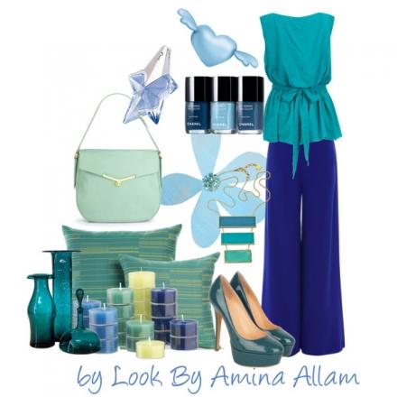 Un mélange de bleus et de verts