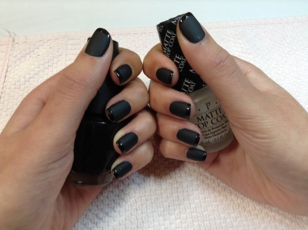 Lady in black with Matte  top coat