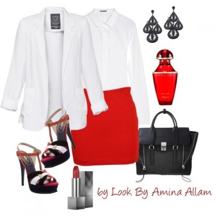 Une tenue chic en rouge, blanc&noir
