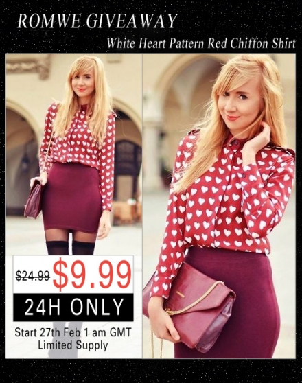 Giveaway – Romwe burgundy heart pattern shirt