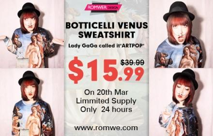 Romwe's Botticelli Venus sweatshirt