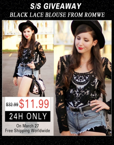 Giveaway – black lace blouse from Romwe