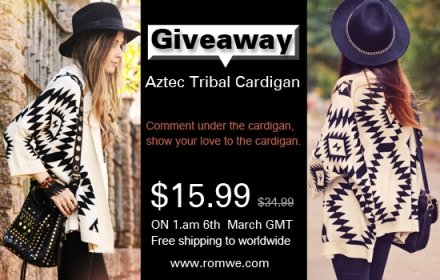 Giveaway – Romwe aztec tribal cardigan
