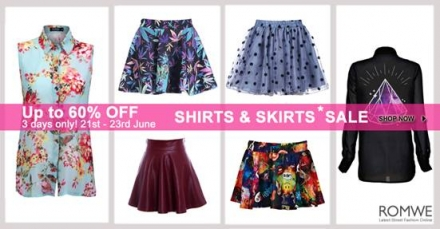 Shirts & skirts sale by Romwe