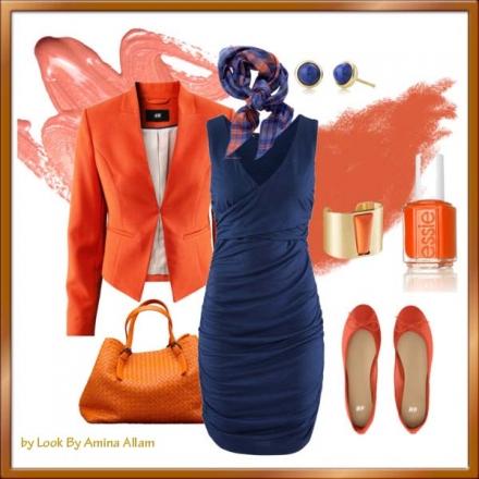Tangerine & bleu marine