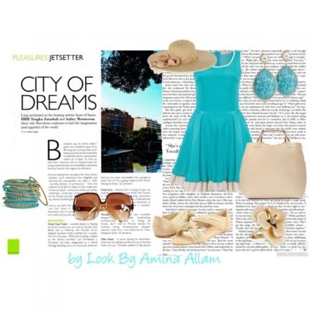 La robe turquoise – les accessoires nudes