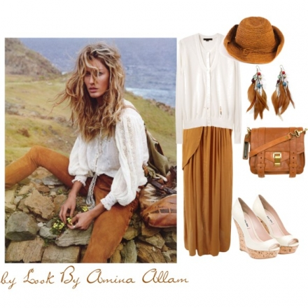 Une tenue en blanc et en camel